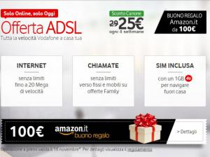 Vodafone: 100 euro da spendere su Amazon.it attivando Fibra o ADSL