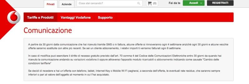 Dal 13 marzo tutte le offerte Vodafone si rinnoveranno ogni 4 settimane