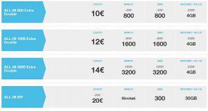 Tre All-in Extra Double 800, 1600 e 3200, tre nuove tariffe settimanali