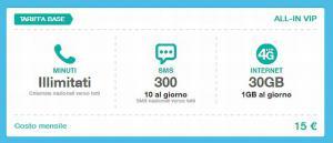 Tre All-in vip: 1 Giga al giorno a 15 euro al mese