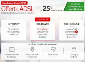 Vodafone Adsl: Chiamate illimitate e Navigazione fino a 20 mega a 25 euro