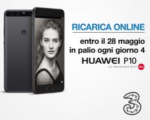 Tre: Ricarica online entro il 28 Maggio, puoi vincere Huawei P10