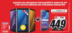 Samsung J3 2016 in regalo acquistando A8 2018, S8 e Note 8
