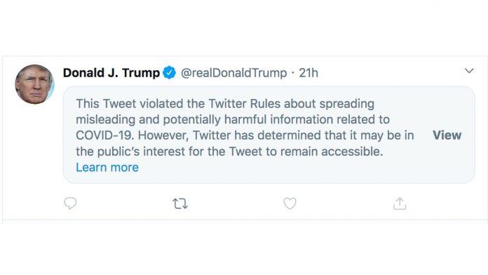 Twitter censura Trump