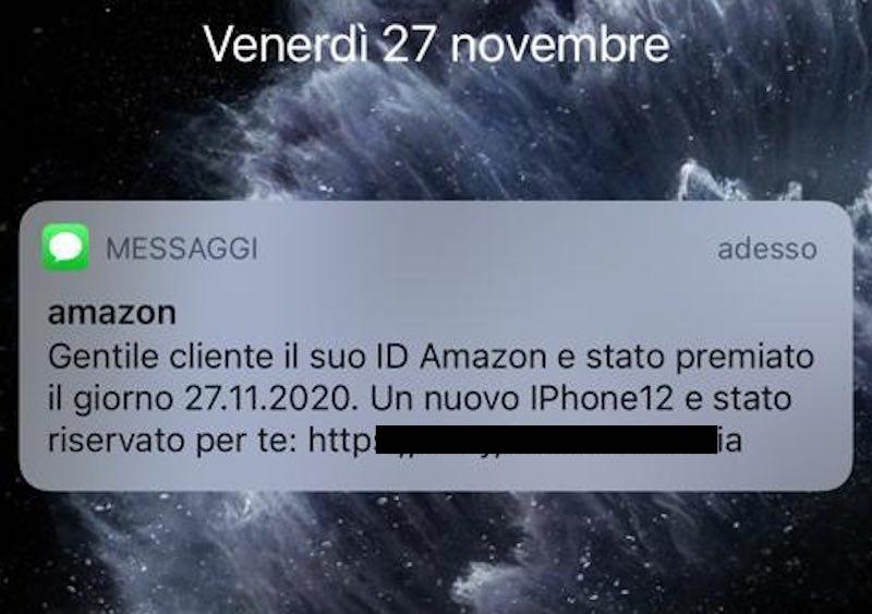truffa sms amazon iphone 12