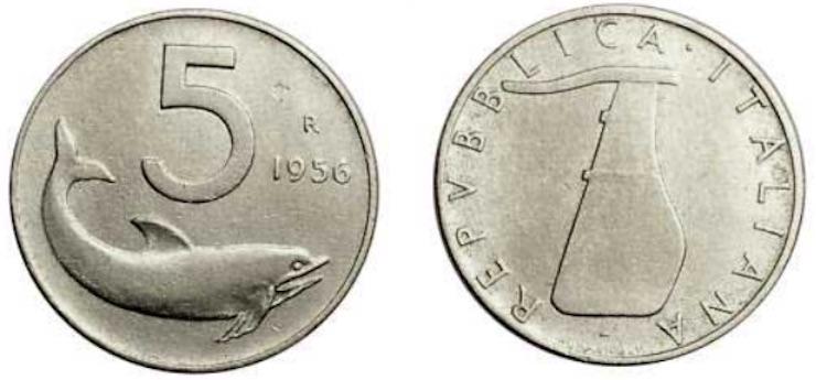 monete 5 lire delfino