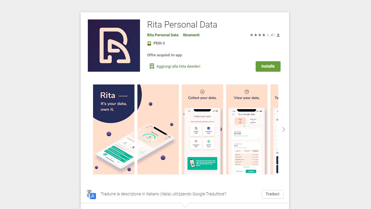 App Rita come funziona