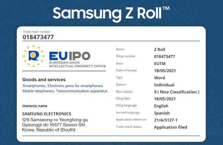 Galaxy Z Roll EUIPO filing