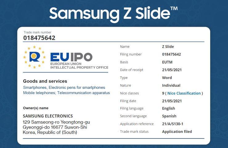 Galaxy Z Slide EUIPO filing