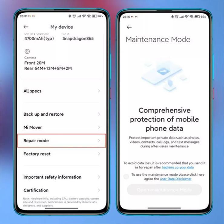 Xiaomi MIUI 12.5 modalità manutenzione