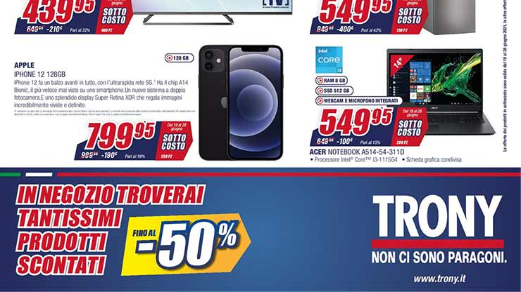 Volantino Trony sottocosto offerta iPhone 12
