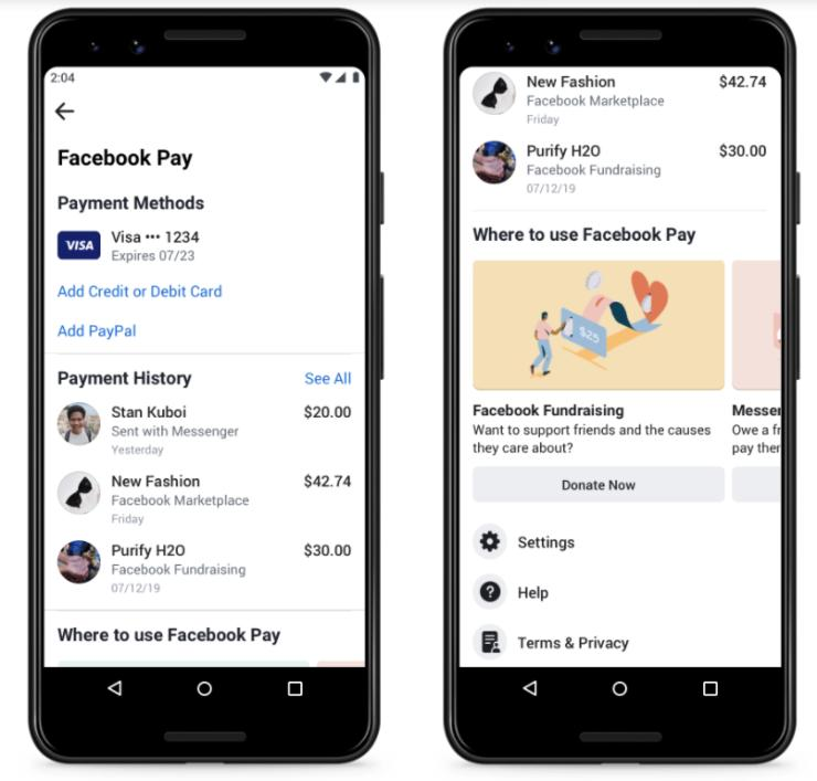 Facebook Pay negozi