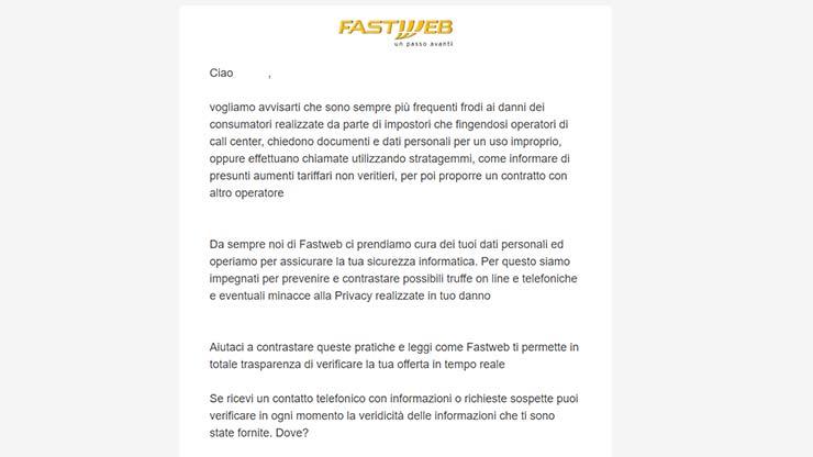 Fastweb aumenti truffa